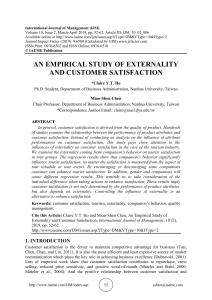 AN EMPIRICAL STUDY OF EXTERNALITY AND CUSTOMER SATISFACTION
