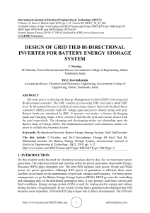DESIGN OF GRID TIED BI-DIRECTIONAL INVERTER FOR BATTERY ENERGY STORAGE SYSTEM