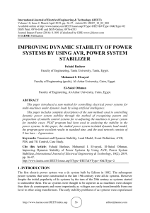 IMPROVING DYNAMIC STABILITY OF POWER SYSTEMS BY USING AVR, POWER SYSTEM STABILIZER