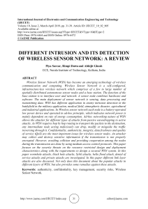 DIFFERENT INTRUSION AND ITS DETECTION OF WIRELESS SENSOR NETWORK: A REVIEW