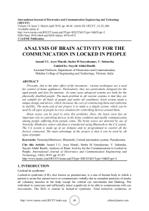 ANALYSIS OF BRAIN ACTIVITY FOR THE COMMUNICATION IN LOCKED IN PEOPLE