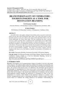 BRAND PERSONALITY OF COIMBATORE: TOURISTS INSIGHTS AS A TOOL FOR DESTINATION BRANDING