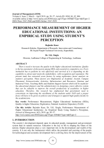 PERFORMANCE MEASUREMENT OF HIGHER EDUCATIONAL INSTITUTIONS: AN EMPIRICAL STUDY USING STUDENT'S PERCEPTION