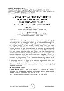 A CONCEPTUAL FRAMEWORK FOR RESEARCH ON INVESTMENT DETERMINANTS AMONG NON-INSTITUTIONAL INVESTORS