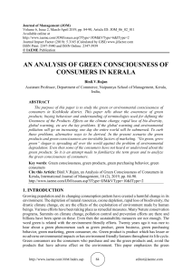 AN ANALYSIS OF GREEN CONSCIOUSNESS OF CONSUMERS IN KERALA