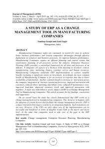 A STUDY OF ERP AS A CHANGE MANAGEMENT TOOL IN MANUFACTURING COMPANIES