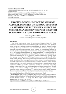 PSYCHOLOGICAL IMPACT OF MASSIVE NATURAL DISASTER ON SCHOOL STUDENTS – A SIGNIFICANT BUT UNSEEN ASPECT OF SCHOOL MANAGEMENT IN POST DISASTER SCENARIO – A STUDY FROM RURAL NEPAL