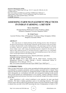 ASSESSING FARM MANAGEMENT PRACTICES IN INDIAN FARMING: A REVIEW