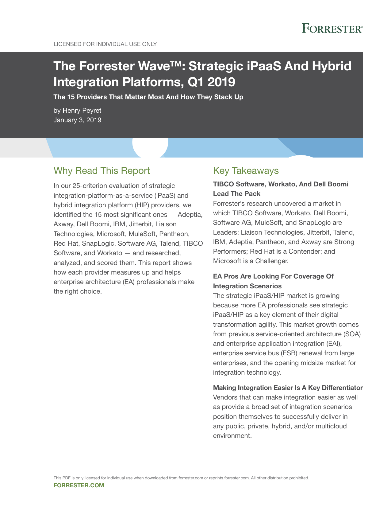 The Forrester Wave™ Strategic iPaaS And Hybrid Integration Platforms