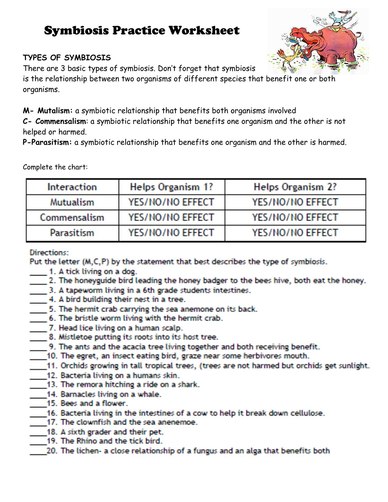 Symbiosis Practice Worksheet