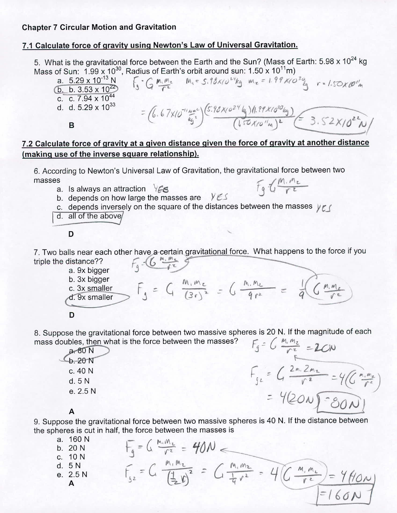 Circular Motion And Gravitation Test Answer 001