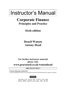 Corporate Finance - Principles and practice  6th Edition- Instructor's Manual