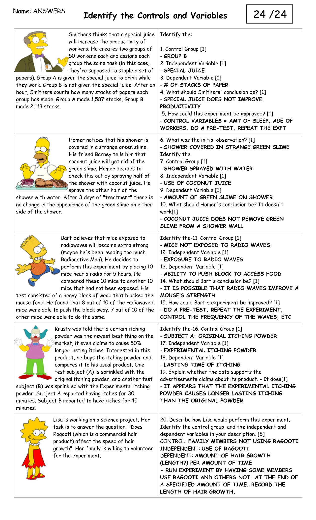 Identifying variables ANS Pertaining To Identifying Variables Worksheet Answers