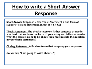 Short Answer Essay Response Structure