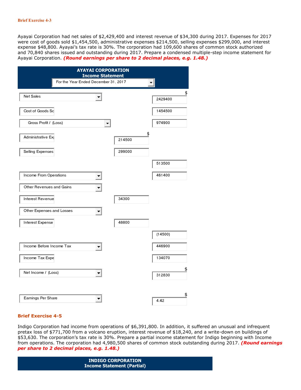 Intermediate Accounting, 16e Chapter 4 Homework Income Statement