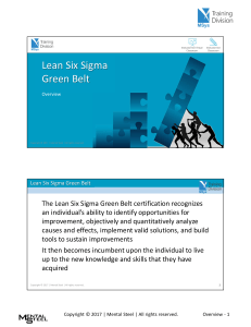 LEAN SIX SIXGMA GREENBELT OVERVIEW