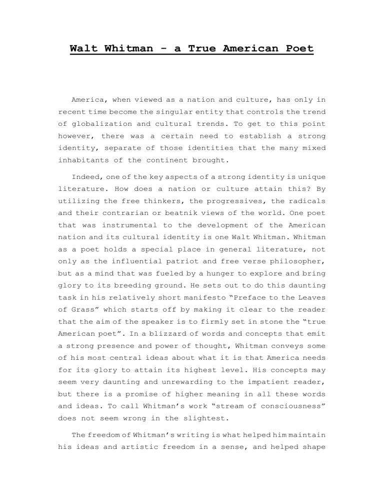 Essay walt whitman poems cover letter to editor journal sample