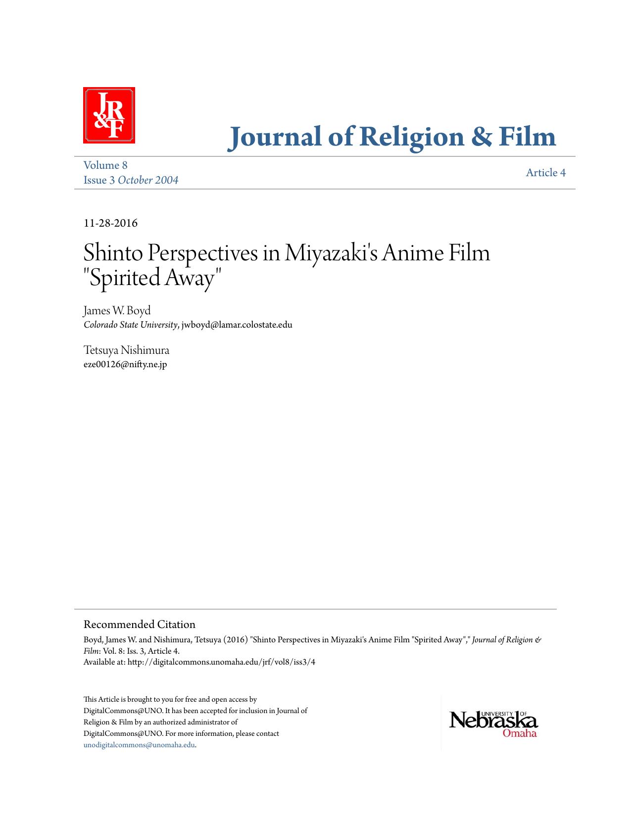 Shinto Perspectives In Miyazakis Anime Film Spirited Away