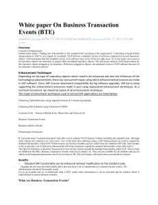 White paper On Business Transaction Events