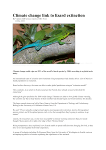 Climate change link to lizard extinction