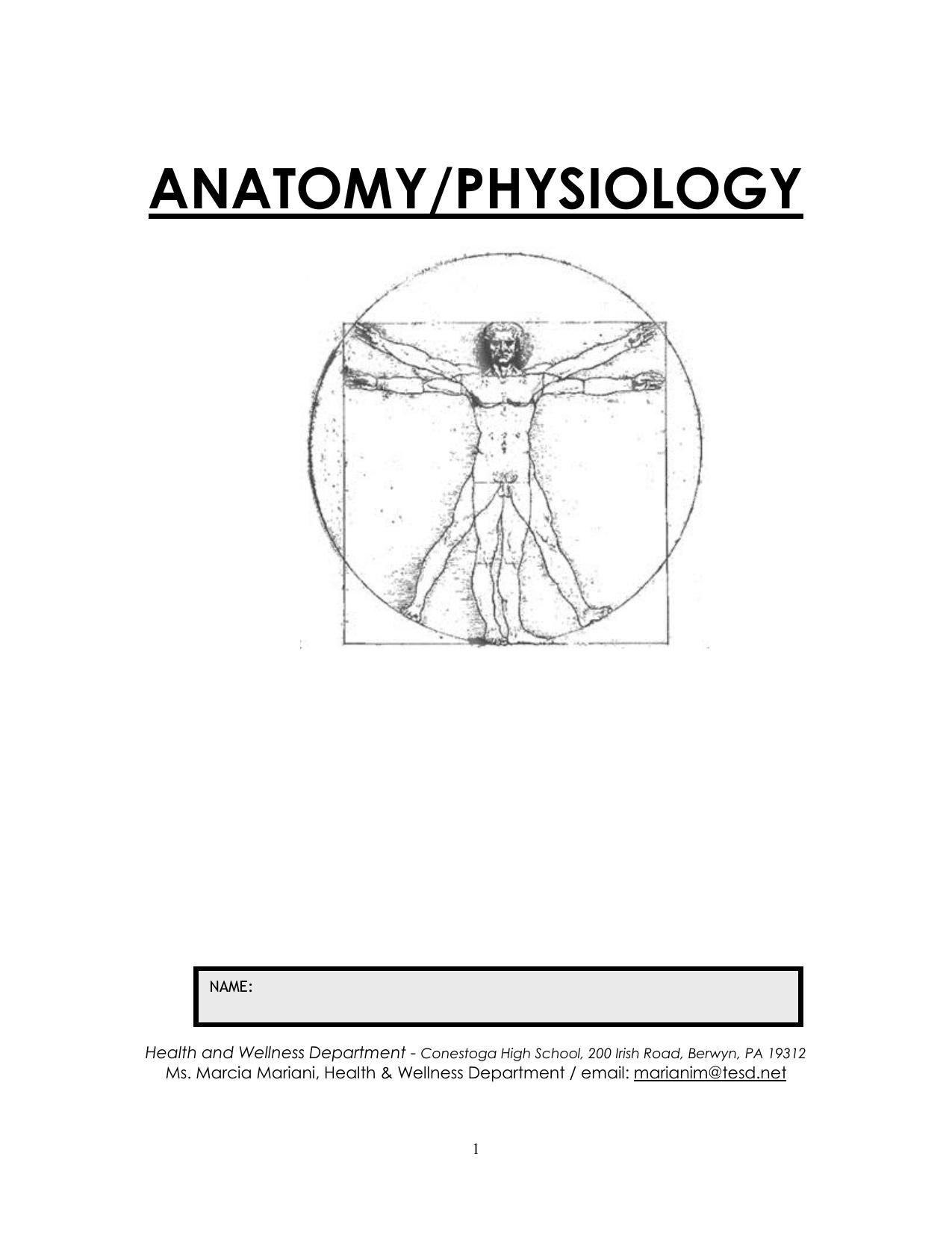 Anatomy & Physiology Worksheet