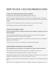 how to give a success presentation