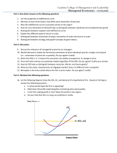 Managerial Economics - Worksheet