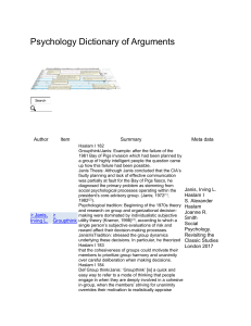 Groupthink - Psychology Dictionary of Arguments