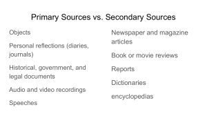 Primary and Secondary Sources  Runaway Slaves