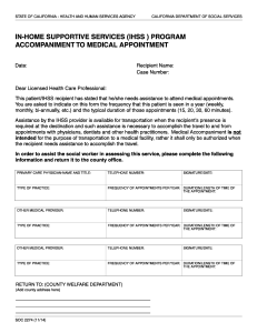 IN HOME SUPPORTIVE SERVICES ACCOMPANIMENT TO MEDICAL APPOINTMENT (SOC 2274)