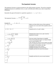 The Quadratic Formula Graphic Organizer