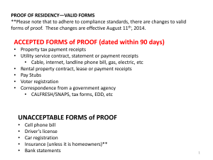 Proof of Residency Valid Forms