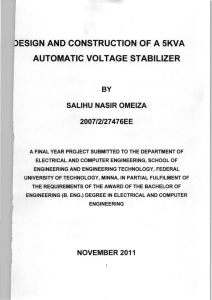 DESIGN AND CONSTRUCTION OF A 5KVA AUTOMATIC VOLTAGE STABILIZER (1)