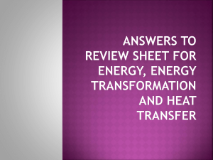 review answers to for energy energy transformation and heat transfer