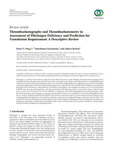 Thromboelastography and Thromboelastometry in Assessment of Fibrinogen Deficiency and Prediction for Transfusion Requirement: A Descriptive Review