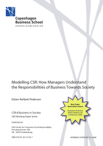 Modelling CSR- How Managers Understand the Responsibilities of Business Towards Society
