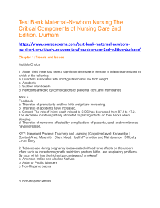 Test Bank Maternal-Newborn Nursing The Critical Components of Nursing Care 2nd Edition, Durham