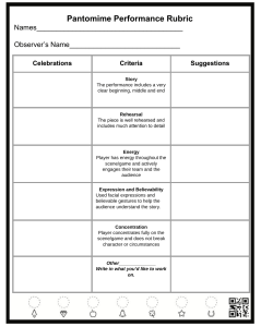 Pantomime Performance Single Point Rubric on RocketBook Template
