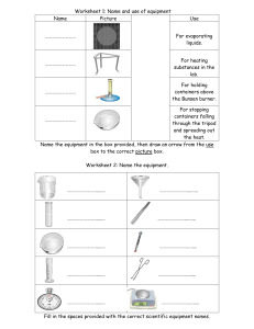 Equipment worksheets