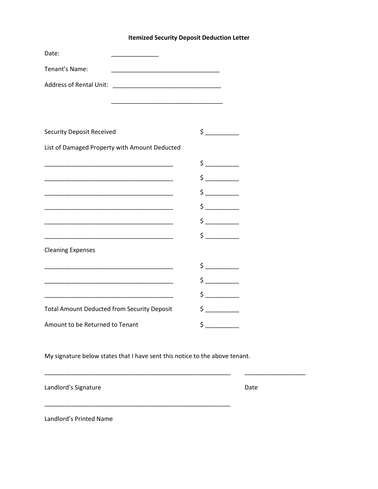 Security Deposit Return Letter From Landlord from s3.studylib.net
