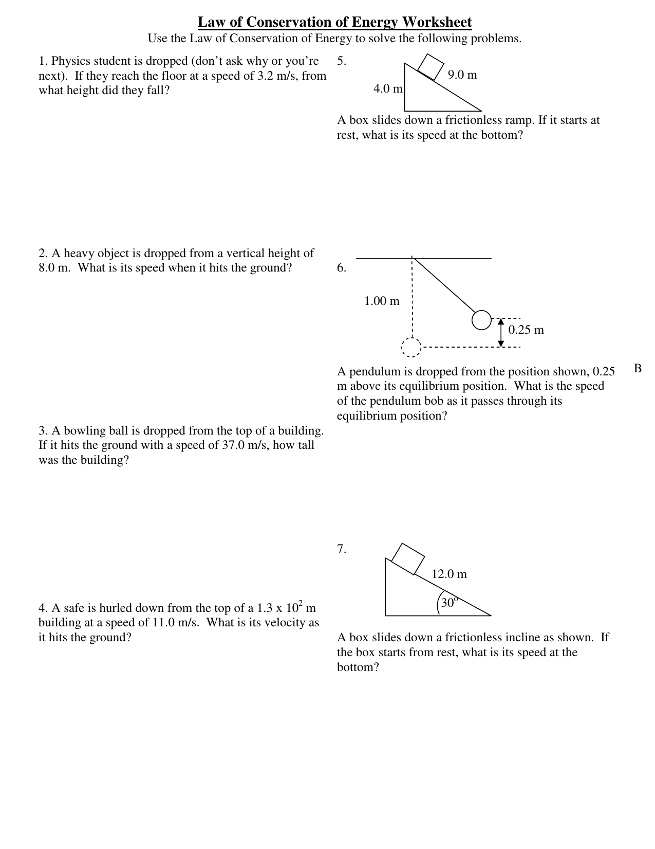 Worksheet 4 Law Of Conservation Of Energy