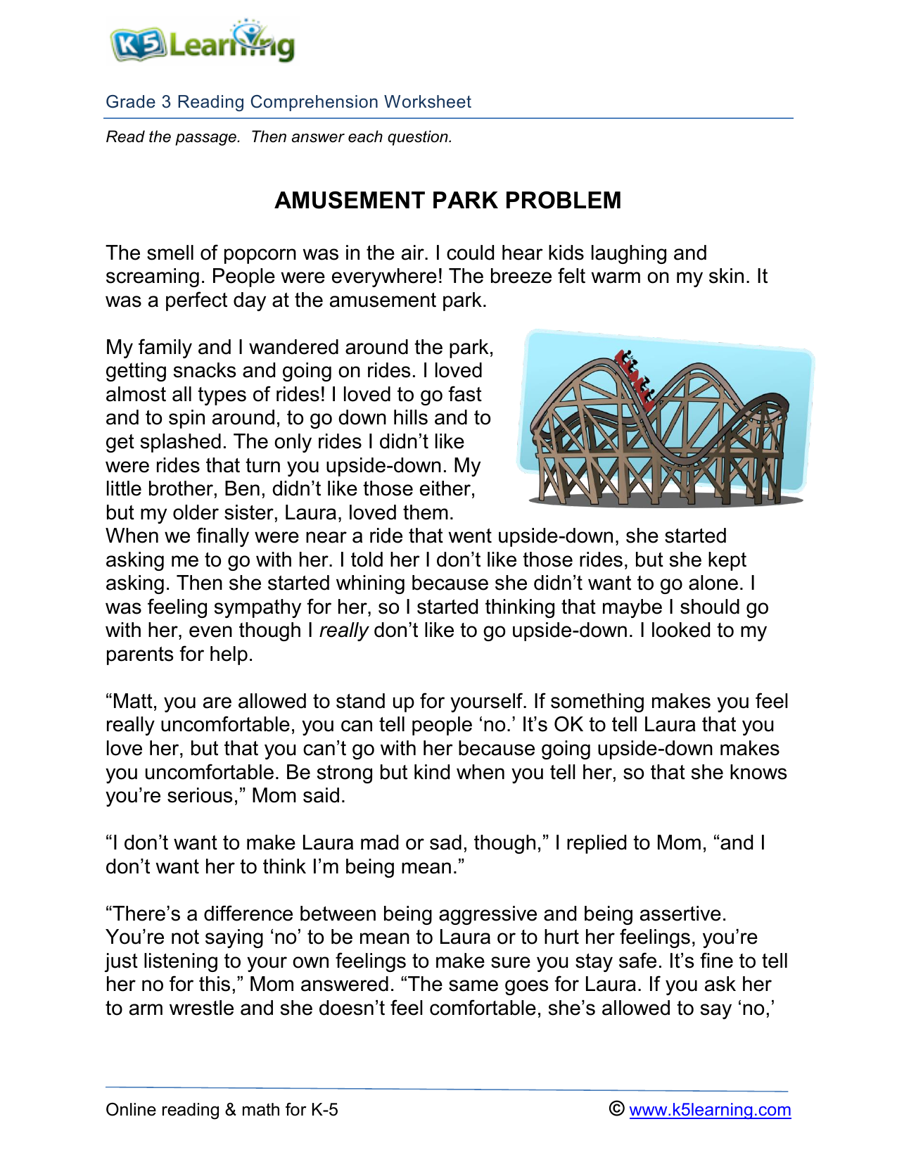 - 3rd-grade-reading Comprehension-amusement-park