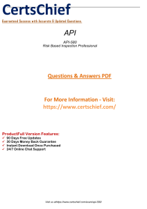 API-580 Latest Questions Answers To pass Your Exam 2019