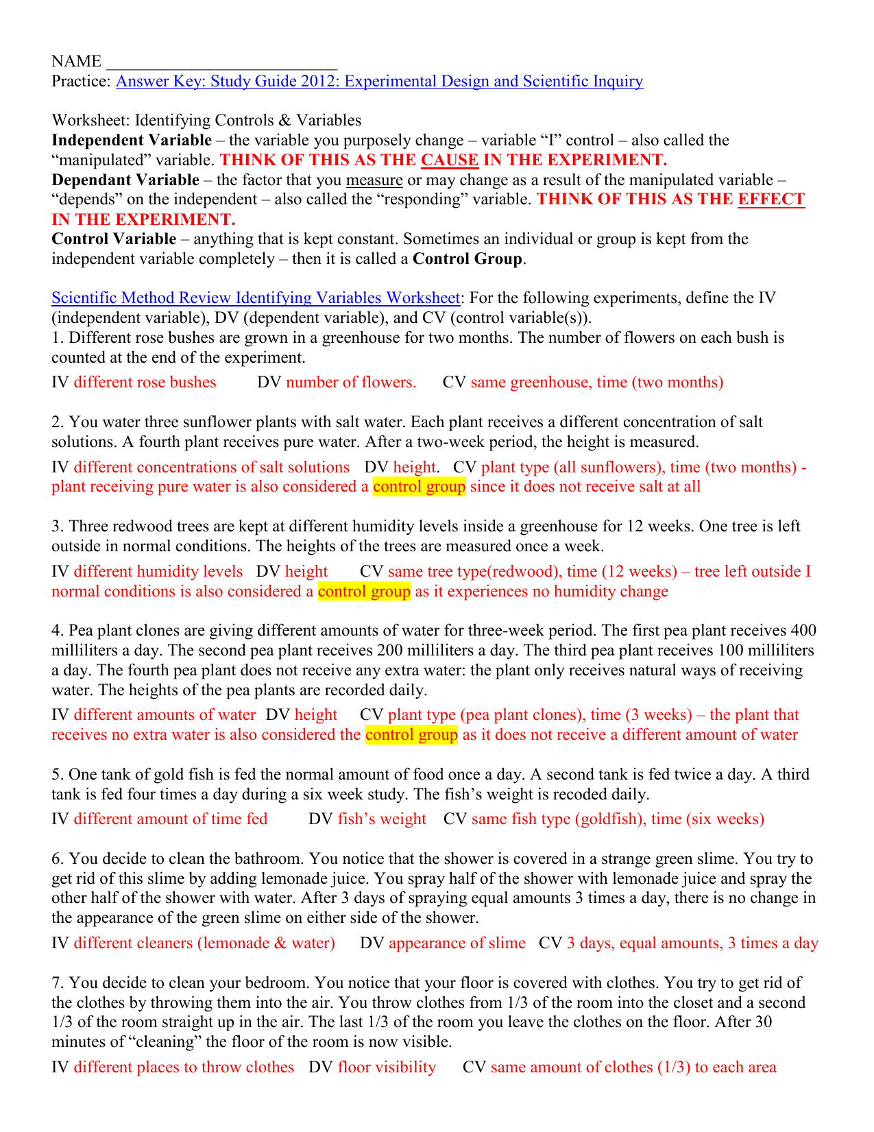 Identifying controls & variables practice worksheet key For Identifying Variables Worksheet Answers