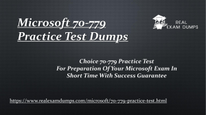 Get Valid Microsoft 70-779 Exam Study Guide - Microsoft 70-779 Questions Answers RealExamDumps.com