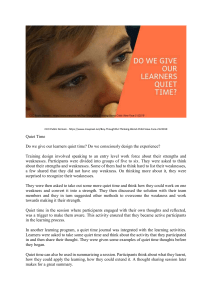 Do we give our learners quiet time
