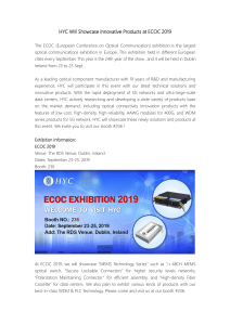 HYC Will Showcase Innovative Products at ECOC 2019