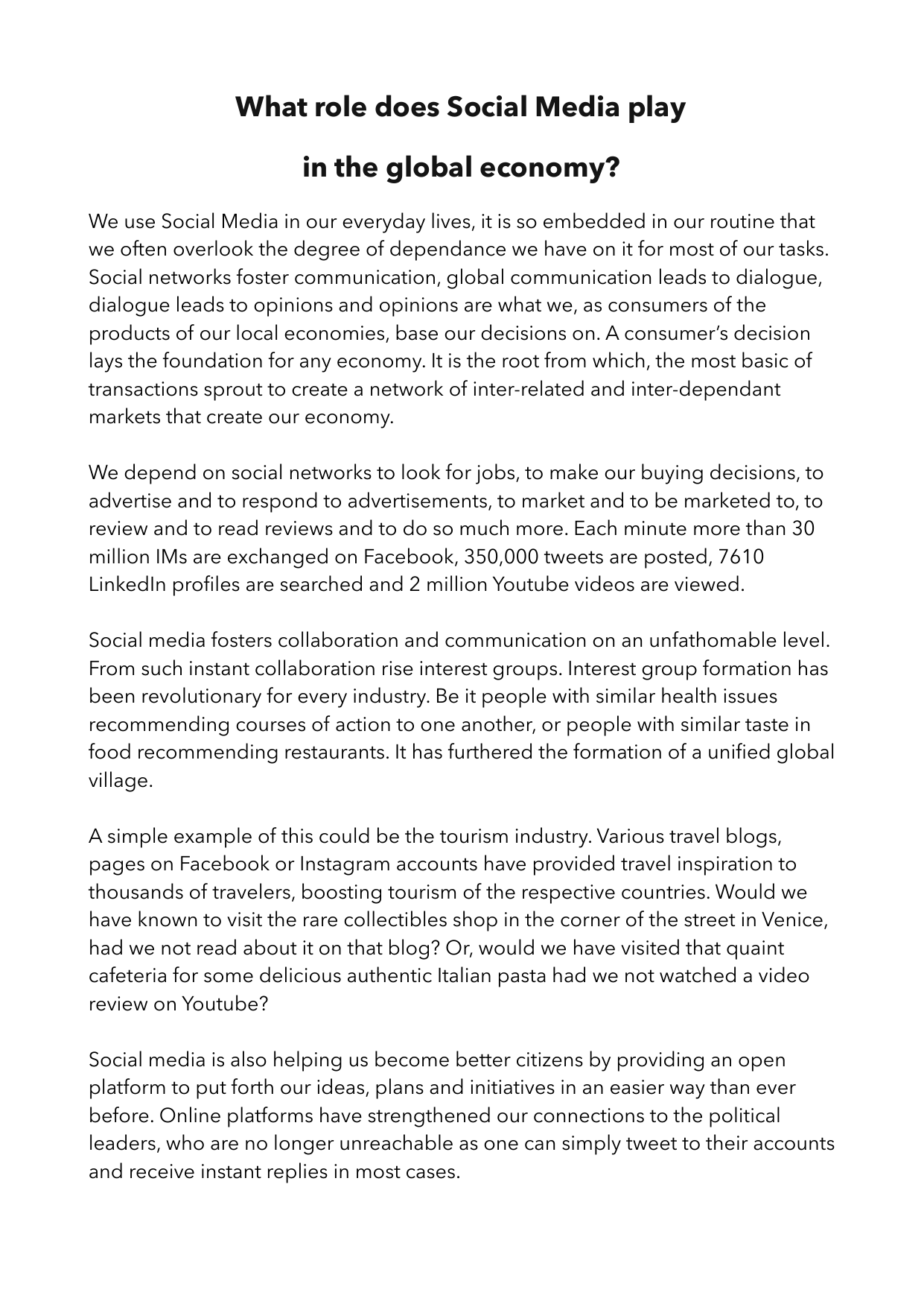 Social Media impact on Economy