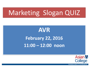 MARKETING SLOGAN  QUIZ 2016