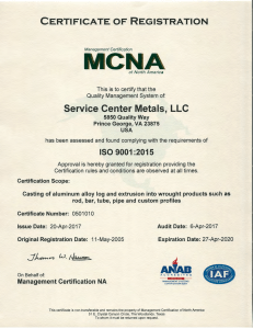 Service Center Metals ISO 9001 Certificate